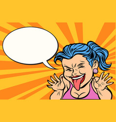 Young woman showing tongue funny vector