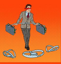 pop art blindfolded businessman walking with money vector image vector image