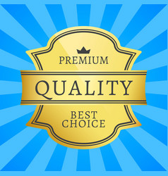 premium quality best choice golden label isolated vector image