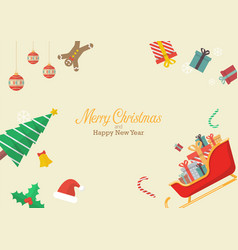 christmas composition with decorations and gift vector image vector image