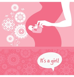 Silhouette pregnant mother with babys bootees vector image