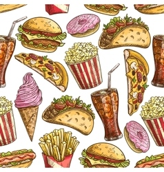 Fast food sketched snacks seamless pattern vector image vector image