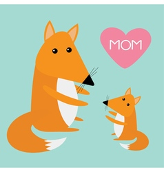 Fox mother and baby Cute cartoon character set vector image