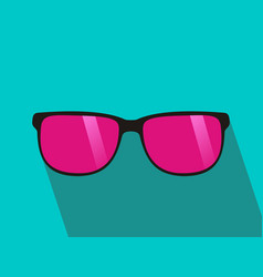 glasses with pink lens long shadow flat design vector image vector image
