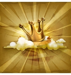Gold crown old style background vector image vector image