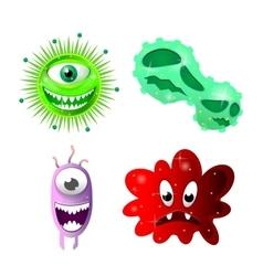 Set of cartoon bacteria fun characters cute vector