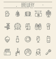 set of thin line icons of beer and brewery vector image vector image