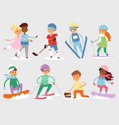 winter sport kids games cute cartoon vector image vector image