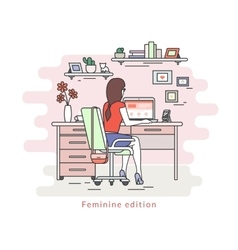 Woman with laptop vector