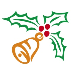 Christmas holly berry and bell symbol vector