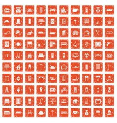 100 comfortable house icons set grunge orange vector image