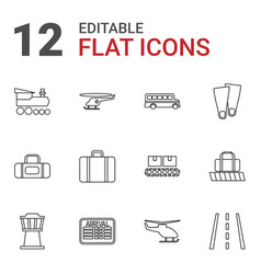 12 trip icons vector
