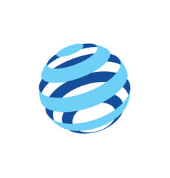 abstract logo of a globo made of blue stripes vector image