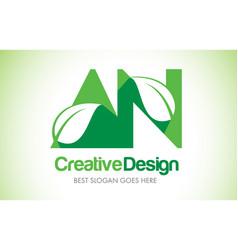 an green leaf letter design logo eco bio leaf vector image