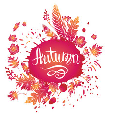 Autumn bright card vector
