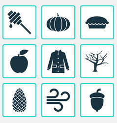 Autumn icons set with tree pine cone fruit and vector