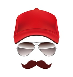 Baseball cap Glasses and Mustache isolated on vector image