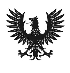 Black heraldic eagle in aggressive posture icon vector image