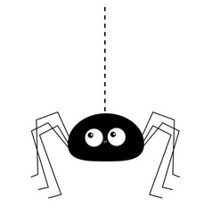 Black spider silhouette hanging on dash line web vector