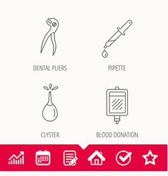 Blood donation pipette and dental pliers icons vector