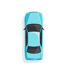 blue cartoon car top view vector image