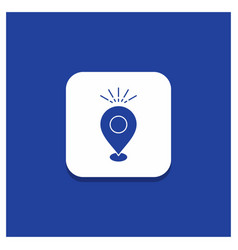 Blue round button for location pin camping vector