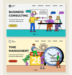 business consulting and time management website vector image