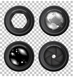 camera lenses on a checkered background vector image