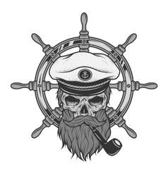 Captain Skull and sea helm vector image