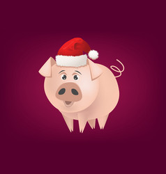 cartoon pig with santa hat vector image