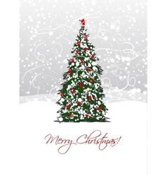 Christmas tree postcard design vector image