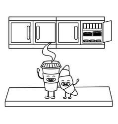 coffee kawaii mug cartoon vector image