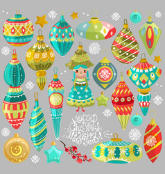 Collection of cute christmas elements vector