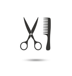 comb and scissors icon vector image