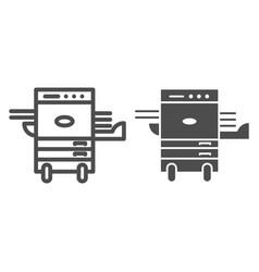 Copier printer line and glyph icon multifunction vector