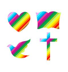 Cross bible heart and dove vector