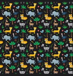 Cute animals seamless pattern cartoon animals vector