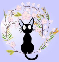 cute black cat on the flower branch vector image