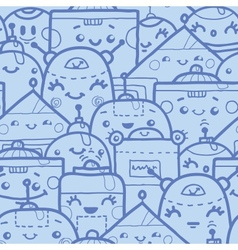 Cute doodle robots seamless pattern background vector