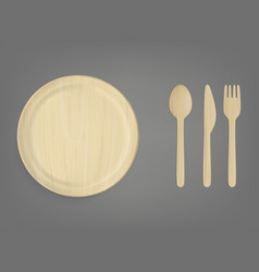 Disposable wooden tableware realistic set vector