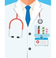 Doctor in lab coat close up vector
