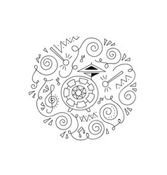 Doodle drum coloring page vector