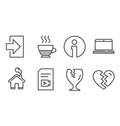 Doppio fragile package and login icons notebook vector