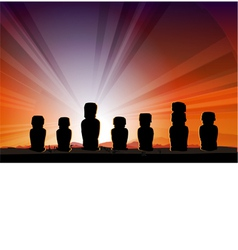 Easter Island Monument Statues Moai vector