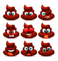 emoji shit and sad icon set collection vector image