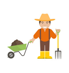 Farmer or gardener holding a pitchfork and vector