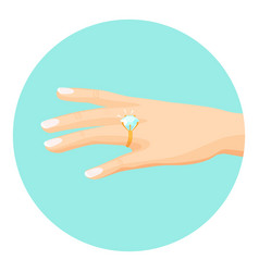 Female hand with diamond engagement ring on finger vector