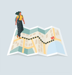 female hikers walk at hike map vector image