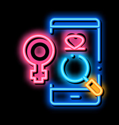 Female love search neon glow icon vector