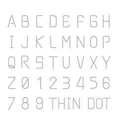font thin dot alphabet character style design set vector image